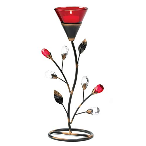 DMS Set of 2 Ruby Red Glass Flower Bejewel Buds Candle Holder for Tealight Candles Centerpiece 11.2' Tall
