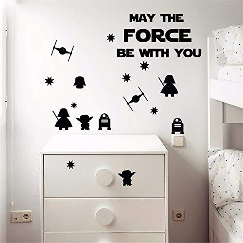 Aufkleber Möge Die Macht Mit Dir Sein Star Wars Wandaufkleber, Death Star Darth Vader Roboter Yoda Wandtattoo Für Kinderzimmer Kinderzimmer Dekor