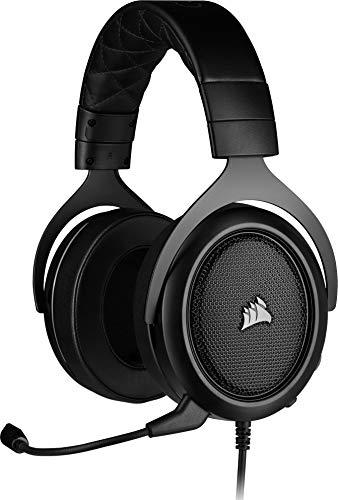 Corsair HS50 PRO Stereo Casque de Gaming Mousse à mémoire ajustables Oreillettes, Unidirectionnel Antibruit amovible Microphone avec PC, PS4, Xbox One, Switch et appareils mobiles Compatibilité