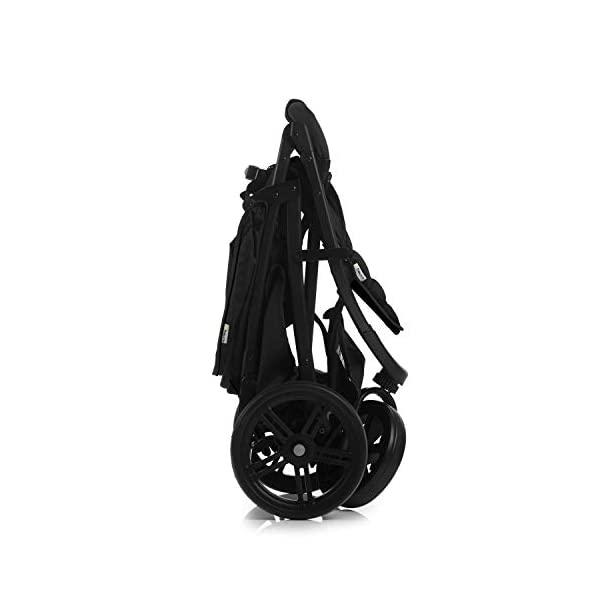Hauck Rapid 3 Wheel Pushchair up to 25 kg with Lying Position from Birth, Small Foldable with One Hand, Height Adjustable Push Handle, Large Basket - Black Hauck LONG USE: The pushchair is suitable from birth (in lying position or in combination with the separate 2-in-1 Carrycot) and loadable up to 25 kg (seat unit 22 kg + basket 3 kg) EASY TO FOLD: This stroller folds away compactly and can be then carried with one hand only by the release loop COMFORTABLE: For the kid thanks to backrest and footrest adjustable into flat position, as well as for parents thanks to height-adjustable handle and large shopping basket 13