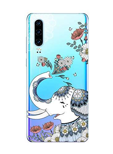 Suhctup Compatible con Huawei P9 Plus Funda de Transparente Silicona con Dibujos Lindo Animados Animal Diseño Patrón Cárcasa Suave Flexible Ultrafina TPU Antigolpes Protección Caso, Elefante 2
