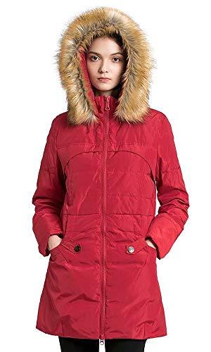 Beinia Valuker Abrigo de plumón para Mujer con Capucha de Piel con 90% de plumón Parka Puffer Chamarra - Rojo - Medium