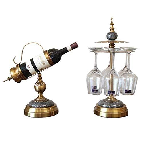 Productos para el hogar Estante para botellas Estante para vino Portavasos para vino Portavasos Estante para vino Estante para vino de madera de teca vintage Escultura de aleación Regalos para manu