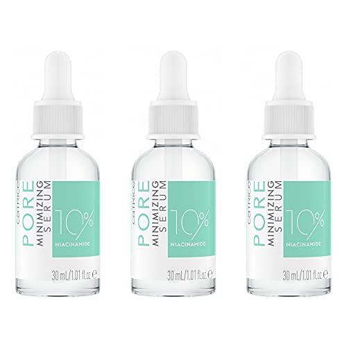Catrice Pore Minimizing Serum, Intensivpflege, Konzentrat, transparent, für Mischhaut, Anti-Glanz, porenverfeinernd, mattierend, transluzent, matt, porenlos, vegan, ölfrei, 3er Pack (3 x 30ml)