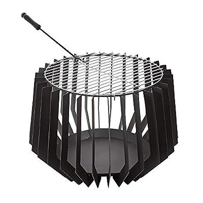 Trueshopping Black Round Outdoor Fire Pit Basket Bowl - Modern Steel Fire Pit Brazier - Log, Wood & Charcoal Burner - Garden Patio Heater from Trueshopping