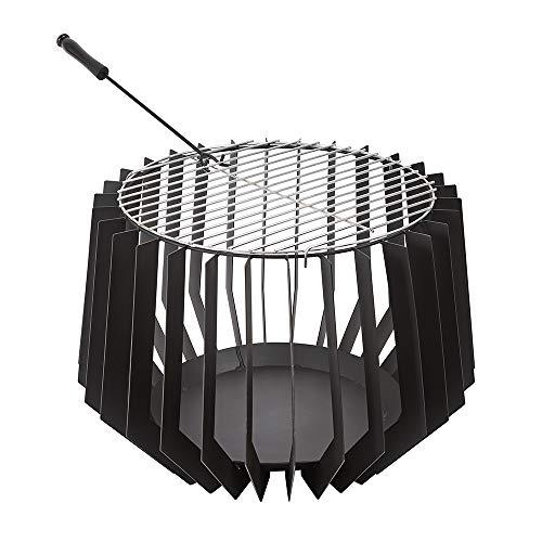 Trueshopping Black Round Outdoor Fire Pit Basket Bowl - Modern Steel Fire Pit Brazier - Log, Wood & Charcoal Burner - Garden Patio Heater