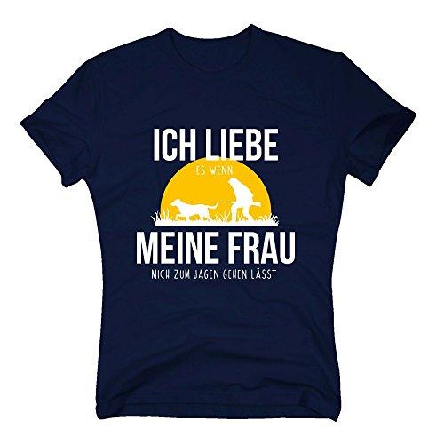 Herren T-Shirt - Ich Liebe es, wenn Meine Frau Mich zum Jagen gehen lässt - von Shirt Department, dunkelblau-Weiss, 5XL