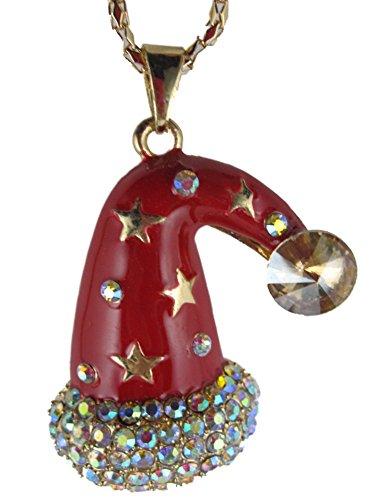 Halskette Kette Straß Weihnachtsmütze Mütze Winter Schnee Eis Heilig Abend K1317