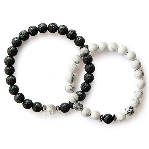 Me&Hz Distance Relationship Bracelets Black White Lava Stone Beads Women Men Friendship Bracelet Set Gifts for Lovers