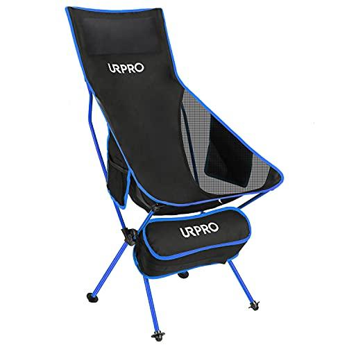 URPRO Outdoor Upgraded Camping Chair Tragbare leichte Klappstühle mit Kopfstütze und beidseitiger Tasche mit hoher Rückenlehne für Outdoor-Rucksacktouren Wandern Reisen Picknick Angeln Blau