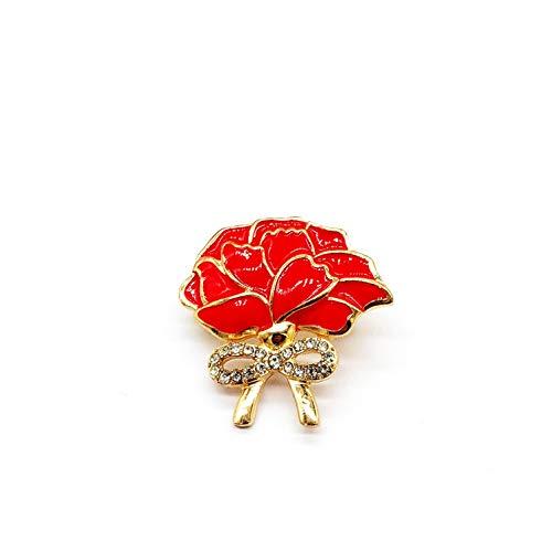 ZXMDP Moda Rhinestone Drip Flower Broche Amapolas, Pin Broche Joker Camisa de Mujer Vestidos Accesorios, Broches de Amapola Regalo de Insignia de Recuerdo de Flor roja