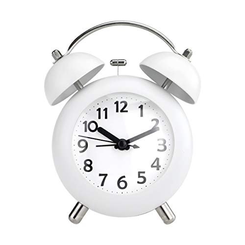 """Pilife 4"""" Vintage Alarm Clock for Kids,Loud Twin Bell Alarm Clocks for Heavy Sleepers , Silent , Non-ticking for Bedrooms , Battery Operated (White)"""