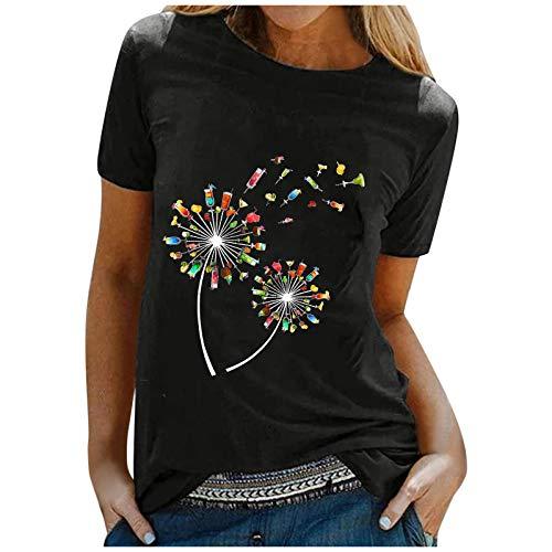 Janly Clearance Sale Blusa para mujer, informal, manga corta, cuello redondo, para mujer, para Pascua, San Patricio, color negro