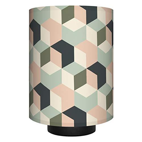 Anna Wand Tischlampe Cubes Mint/Nude/SCHWARZ–Komplette Lampe mit Design-Lampenschirm in versch. Farben, schwarzem Lampenfuß & Stoffkabel, Leuchtmittel–Sanftes Licht im Wohnzimmer, Schlafzimmer, Flur