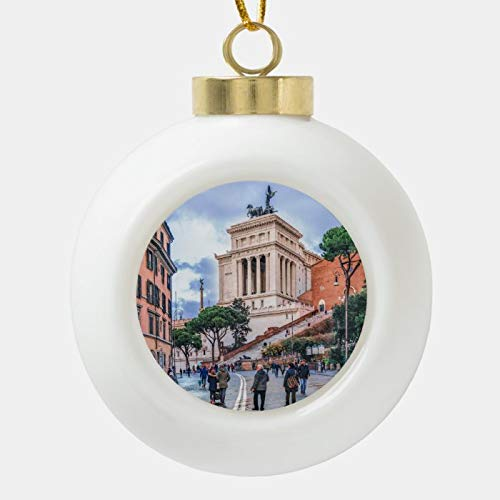 Dom576son Christmas Ball Ornaments, Urban Winter Street Scene, Rome, Italy Ceramic Ball Christmas Ornament, Shatterproof Christmas Decorations Tree Balls for Holiday Wedding Party Decoration