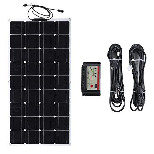 100W 12V monocristallin 36 grille panneau solaire Flexible panneau solaire extérieur dispositif de charge solaire avec 2 pièces 5M câble d'extension + contrôleur