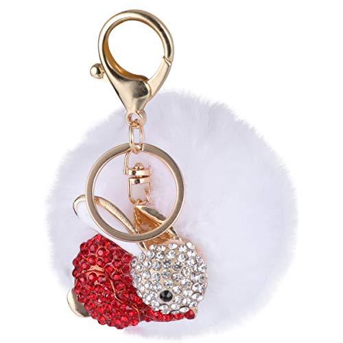 PRETYZOOM Ostern Plüsch Schlüsselanhänger Pelzigen Ball Strass Kaninchen Schlüsselringhalter für Frauen Mädchen Kinder DIY Tasche Geldbörse Hängen Charms Festival Geschenke (Weiß)