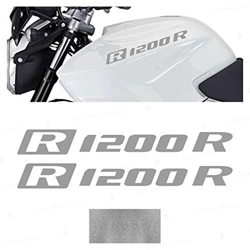 2pcs ADESIVI R1200R compatibile con Motorrad R 1200 R R1200 R VINIL Motorcycle PARASERBATOIO (Silver)