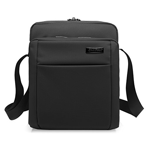 CoolBELL 10.6 Inches Shoulder Bag Oxford Cloth Messenger Bag iPad Carrying Case Functional Hand Bag Briefcase with Adjustable Strap for Tablet/iPad/Men/Women/College/Teens (Black)