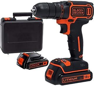 Black+Decker 18V 1.5Ah 650 RPM Li-Ion Cordless Drill Driver with 2 Batteries in Kitbox for Wood & Plastics, Orange/Black -...