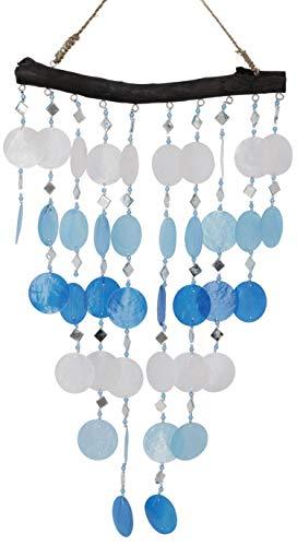 Guru-Shop Muschel Mobile, Ethno Windspiel, Sonnenfänger - Blau/weiß, 40x13x0,5 cm, Traumfänger, Mobiles
