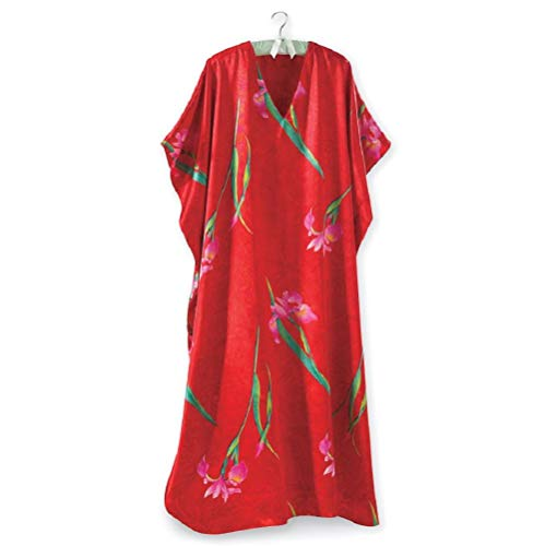 Beautiful & Elegant Caftan – Red, Floral Long Casual Dress, Swimsuit Beach Cover-up, Gown/Night Party Dress with Long V-Neck