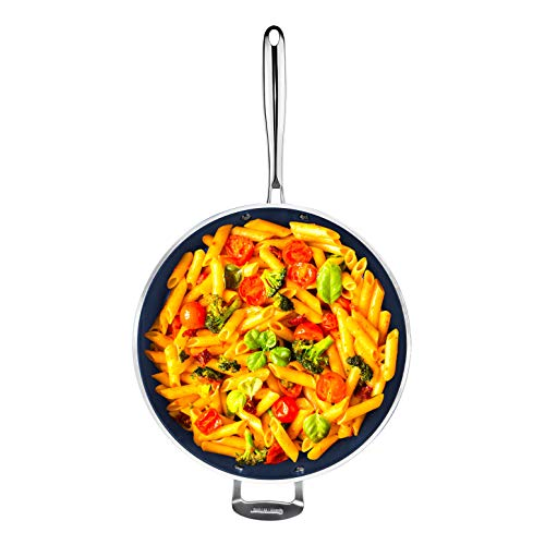 """Granitestone Blue Nonstick 14"""" Frying Pan with Ultra Durable Mineral and Diamond Triple Coated Surface Family Sized Open Skillet Oven and Dishwasher Safe"""