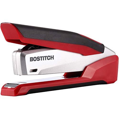 Bostitch, 1117, InPower Spring-Powered Premium Desktop Stapler, 28-Sheet Capacity, Red/Silver