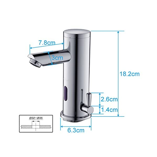 Auralum – Grifos con Sensor Automático Electrónico Mezclador Grifo de Lavabo con Sensor de Infrarrojos para Agua…