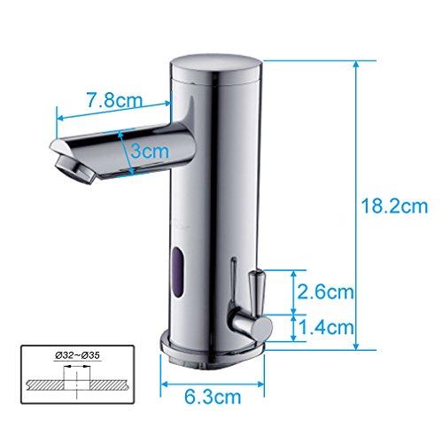 Auralum Grifos con Sensor Autom/ático Electr/ónico Mezclador Grifo de Lavabo con Sensor de Infrarrojos para Agua Caliente y Fr/ía para Ba/ño