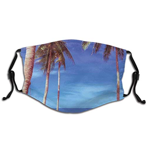 Comfortable Activated Carbon Filters Mask,Image of an Hammock at Summer Tropical Beach by The Ocean with Palms Surreal,Facial Decorations for