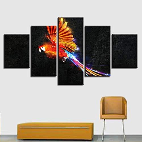 TBDZPS 5 Panel Leinwand Wohnzimmer Hd Dekoration Gedruckt Moderne Bilder Papagei Malerei Wandkunst Modulare Poster