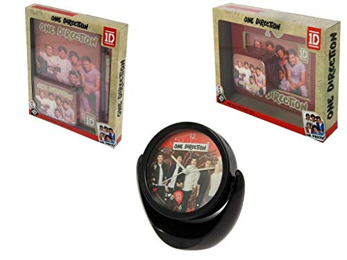One Direction Limited Edition A5 notitieboekje met ritssluiting, set pennen, draaibare spiegel en klokset, fotolijst en sieradendoosje met cadeauverpakking.