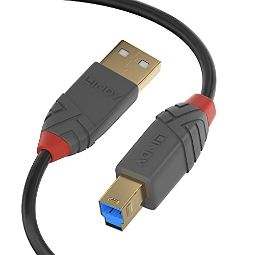 Lindy Cavo USB 3.0 Tipo A a B Anthra Line, 5m, Nero