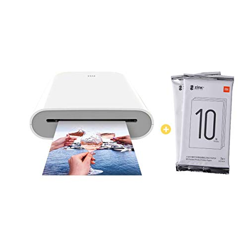 Para Xiaomi Mijia Impresora Portátil,Bluetooth 5.0,ZINK Tecnología Zero Ink Printing,300DPI Mini Bolsillo Fotográfico Portátil,con 20 Hojas 5x7,6cm ZINK Print Paste Paper,(Photo Printer+ 20 Paper)