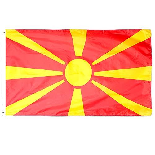 Bandera de Macedonia del Norte de Macedonia Decoracin para disfraz, bandera grande de Macedonia del Norte con ojales de aproximadamente 5ft x 3ft, ftbol, rugby, eventos deportivos y celebraciones