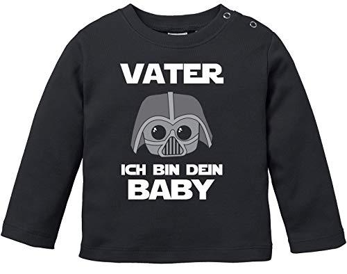 MoonWorks® Baby Langarmshirt Vater ich Bin Dein Baby Bio Baumwolle Babyshirt Jungen Mädchen lustig Spruch Nerd Longsleeve Shirt schwarz 80/86 (10-15 Monate)