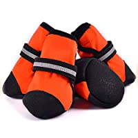 No brand アンチ スリップ発光ストラップ大きな犬の靴柔らかい底快適な足の靴カバーペットの靴 (Color : Orange, Size : 70#)