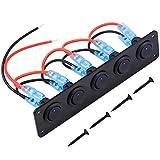 WEKON Interrupteur à Bascule, 12V-24V 5 gang Commutateur de Panneau de Commande d'Interrupteur à Bleu LED pour Voiture Bateau avec 4 Vis
