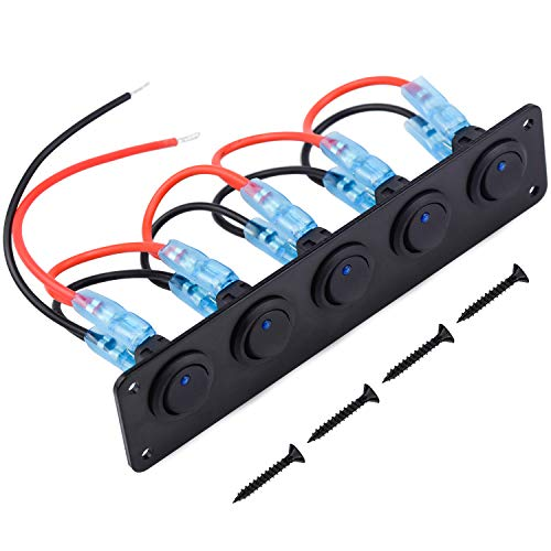 WEKON 12V-24V Panel de Interruptor, Panel de Interruptor de Palanca de Coche LED, Interruptor Basculante Panel, Panel de Control Interruptor Eje Balancín para Coche RV Barco 5 Cuadrillas 165*4