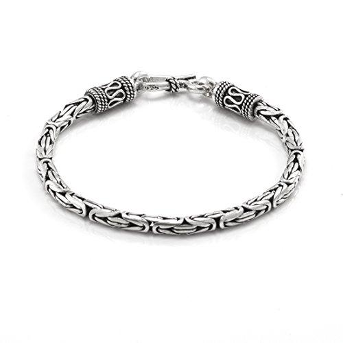 Silverly Pulsera Mujeres en Plata de Ley .925 Estilo Bizantina Serpiente, 18.5 cm