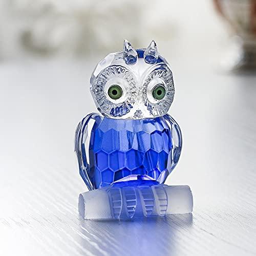 H&D - Decorazione di cristallo blu a forma di piccolo gufo, statuetta da collezione, fermacarte, centro tavola ornamento