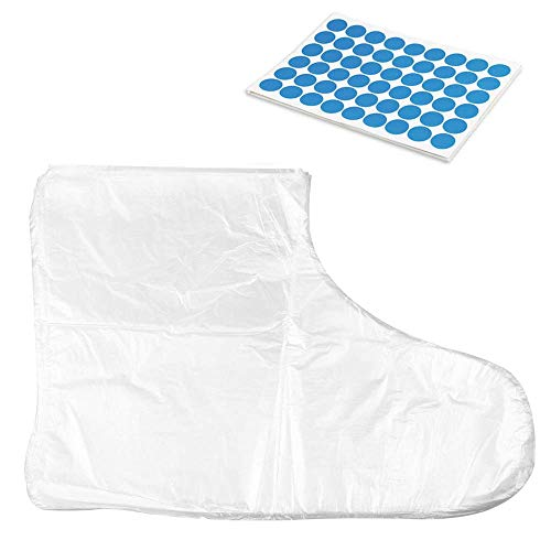 100Pcs Clear Plastic Disposable Booties for Foot with 100 Stickers for Snug Closure for Foot Pedicure Hot Spa Wax Treatment Foot