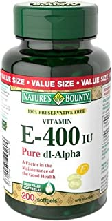Nature's Bounty Preservative Free Vitamin E 400 IU, 200 Softgels