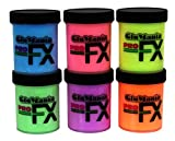 6 Color Daytime Visible Glow in The Dark Paint UV Reactive, Luminous, Glowing Fluorescent 1/2oz with FREE UV Keyring