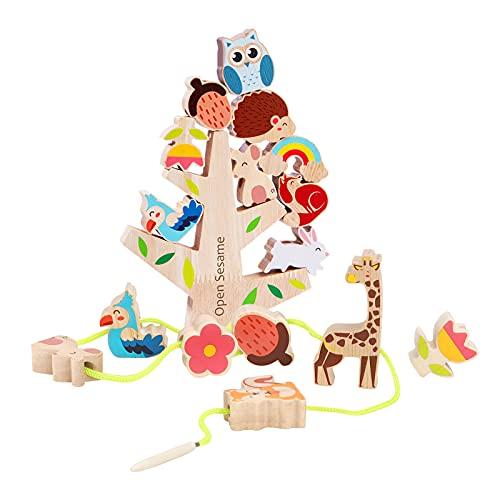 AISHUN Stacking Toys Wooden Stacking Balancing Game Wooden Animal Building Blocks Montessori Toys Fine Motor Skills Travel Gifts for 3 4 5 Year Old Boys Girls