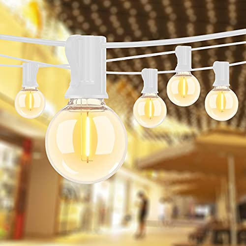 Outdoor String Lights 50Ft Patio String Light with 20 G40 LED Shatterproof Bulbs(Add 2 Spare Bulbs) Fit E12 Socket Base, Apply to Weatherproof Commercial Lights for Wedding Cafe Pergola, White
