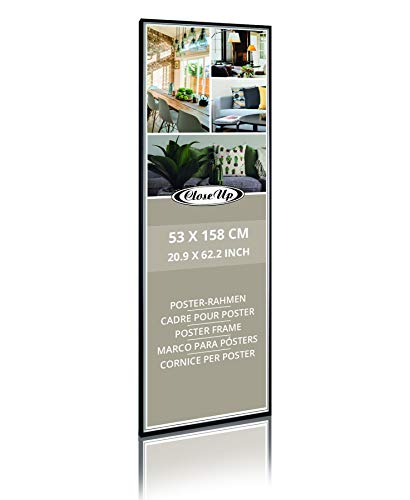 Close Up Posterrahmen, Wechselrahmen 53 x 158 cm, schwarz - mit bruchfester PVC-Scheibe, Kunststoff Bilderrahmen für Langbahnposter, Türposter und Bilder