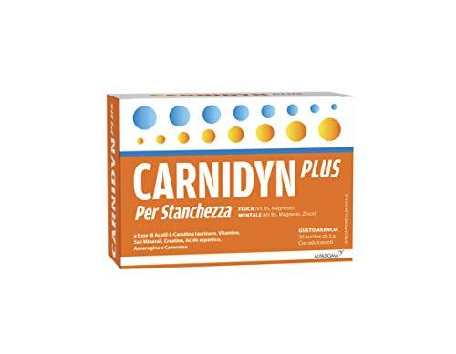 Carnidyn Plus 20 Buste | Combatte La Stanchezza Fisica E Mentale | Con Acetil-L-Carnitina Taurinato Ha Una Formulazione Equilibrata Di Vitamine, Sali Minerali, Creatina, Aminoacidi e Carnosina.