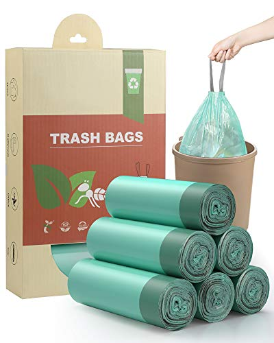 AYOTEE Compostable Trash Bags 4-6 Gallon Drawstring Trash Bags,100 Counts Ultra Strong Unscented Garbage Bags Small Trash Bags Waste Basket Liners for Bathroom, Kitchen ,Bedroom, Office, Pet, Car